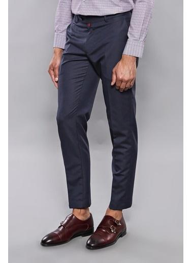 Wessi Erkek Slim Fit Çizgili Desen Kumaş Pantolon Lacivert